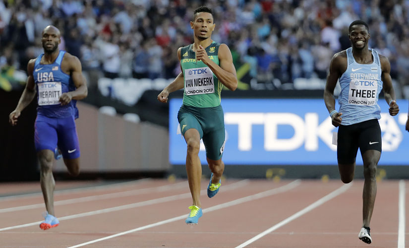 Lashawn Merritt, Wayde Van Niekerk, and Baboloki Thebe, compete in a men's 400m semifinal during the World Athletics Championships in London. AP