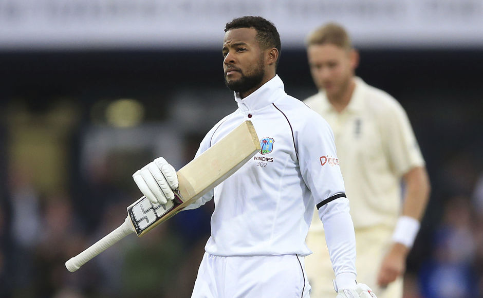 Windies batsman Shai Hope celebrates after slamming his second century of the match. He also became the first batsman to hit two tons in a Test at Headingley. AP