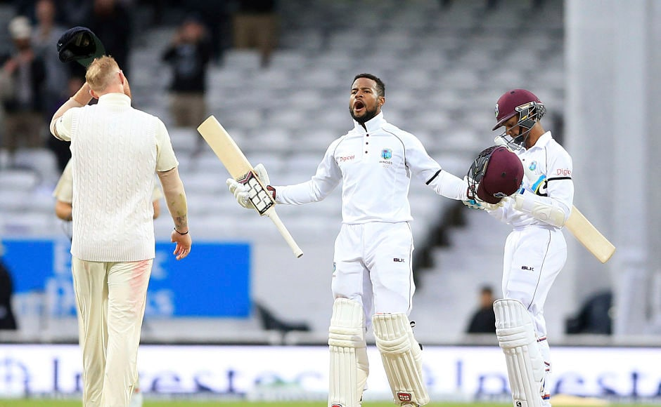 Windies bounced back from a humiliating defeat at Edgbaston and levelled the 3-match series 1-1. Chief architect Shai Hope celebrates after scoring the winning runs. AP