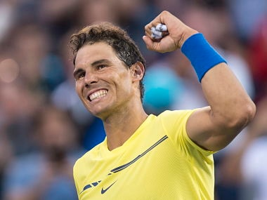 Spain's Rafael Nadal celebrates his win (6-1, 6-2) over Croatia's Borna Coric during the first round of Montreal Masters.