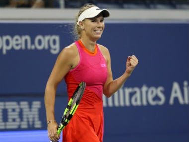 Caroline Wozniacki celebrates during her first round at US Open. Reuters