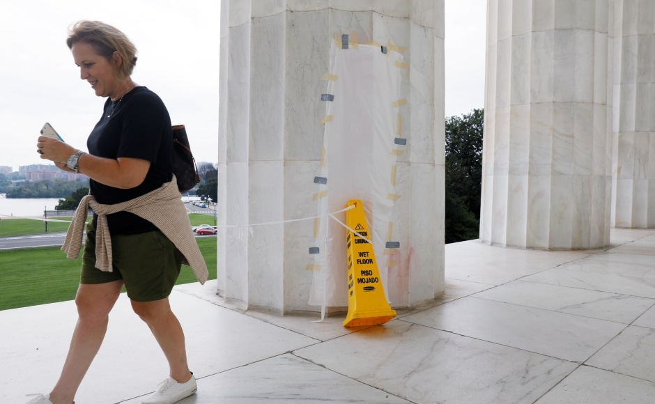 Vandals also defaced the Lincoln Memorial in Washington with an obscene message scrawled in red spray paint. The writing on one of the huge columns at the monument dedicated to slain president Abraham Lincoln was detected in the early hours of Tuesday. The message