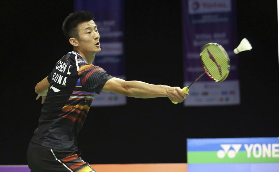 Defending two-time champion Chen Long of China eliminated compatriot Tian Houwei 21-12, 21-17. AP