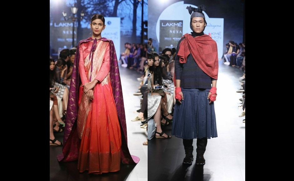 Sailesh Singhania's The Winter Rose Collection and a look from Indegene's collection at the Lakmé Fashion Week Winter/Festive 2017