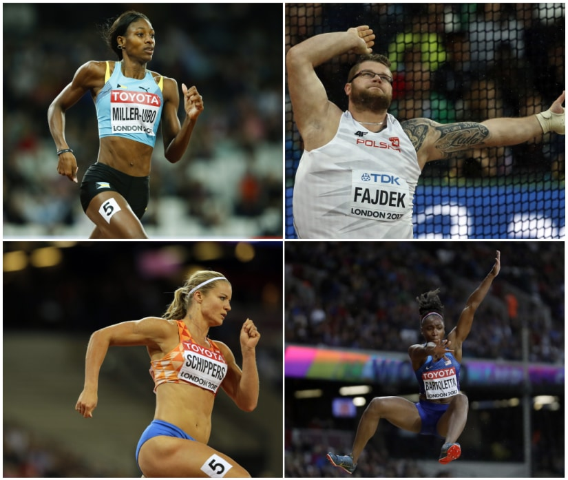 Pawel Fajdek of Poland hammer throw Dutch sprinter Dafne Schippers Shaunae Miller-Uibo of the Bahamas Tianna Bartoletta