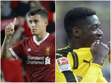 Liverpools's Philippe Coutinho and Borussia Dortmund's Ousmane Dembele. AP