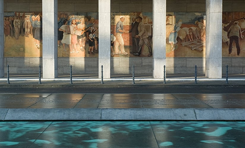 The propoganda mural used by the DDR is still present on the Federal Ministry of Finance building, which was the former DDR headquarters Image Source: Federal Ministry of Finance, Jörg Rüger
