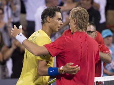 Rafael Nadal, of Spain, congratulates Denis Shapovalov, of Canada, on his 3-6, 6-4, 7-6 (4) win at the Rogers Cup tennis tournament Thursday, Aug. 10, 2017, in Montreal. (Paul Chiasson/The Canadian Press via AP)