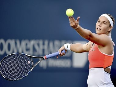 Dominika Cibulkova serves the ball in her quarter-final of the Connecticut Open. AP