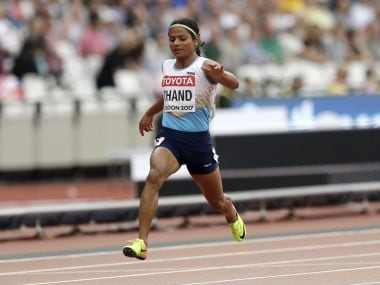 India's Dutee Chand crosses the line a women's 100m heat during the World Athletics Championships in London Saturday, Aug. 5, 2017. (AP Photo/Tim Ireland)