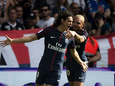 PSG's Edison Cavani, with Layvin Kurzawa celebrate after scoring against Amiens. AP