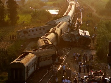 Two trains are seen after they collided just outside Egypt's Mediterranean port city of Alexandria. AP