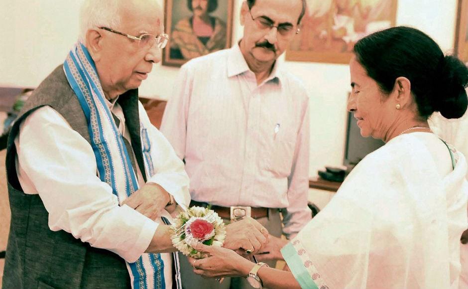 Chief Minister of West Bengal Mamata Banerjee, on Monday went to the Raj Bhavan to tie a Rakhi on Governor Kesari Nath Tripathi's wrist on the eve of Rakhi purnima. PTI