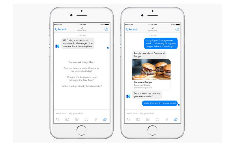 Facebook Messenger M chatbot. Image: Facebook