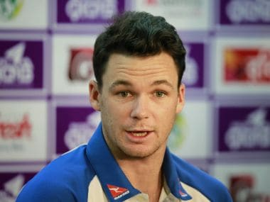 Australia's cricket player Peter Handscomb speaks during a news conference in Dhaka, Bangladesh, Sunday, Aug. 20, 2017. Australia is scheduled to play two test matches against Bangladesh with the first test beginning Aug. 27 in Dhaka. (AP Photo/A.M. Ahad)