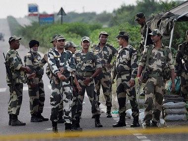 Security Personnel keeping strict vigil near Sunaria Jail in Rohtak. PTI