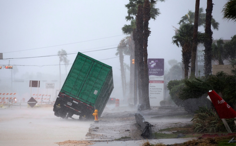 Hurricane Harvey, the first major storm to hit the US mainland in 12 years, slammed into the Texas coast late on Friday, unleashing torrents of rain and packing powerful winds. AP