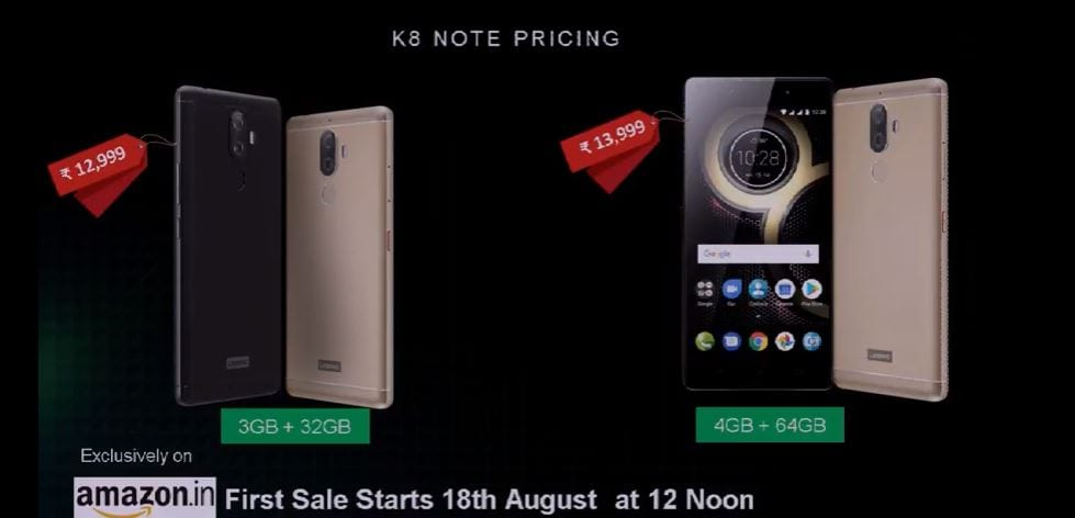 Lenovo K8 Note pricing details