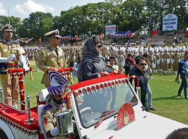 Jammu and Kashmir chief minister Mehbooba Mufti during Independence Day celebrations. PTI