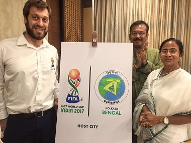 West Bengal CM Mamta Banerjee with Fifa tournament director Javier Cheppi. Image courtesy: Twitter @IndianFootball