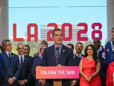 Eric Garcetti, Mayor of Los Angeles calls LA 2028 bid 'once in a generation'. Twitter/@MayorOfLA