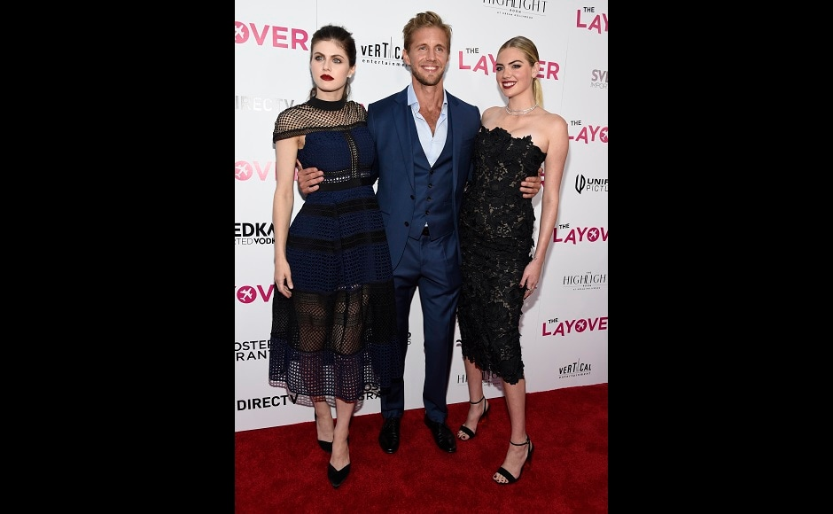 Alexandra Daddario, (left), Matt Barr and Kate Upton will be the part of the love triangle in the film, The Layover. Photo by Chris Pizzello/Invision/AP