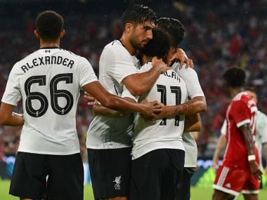Liverpool celebrate after scoring a goal against Bayern Munich in Allianz Arena. Image Courtesy: Twitter/@LFC