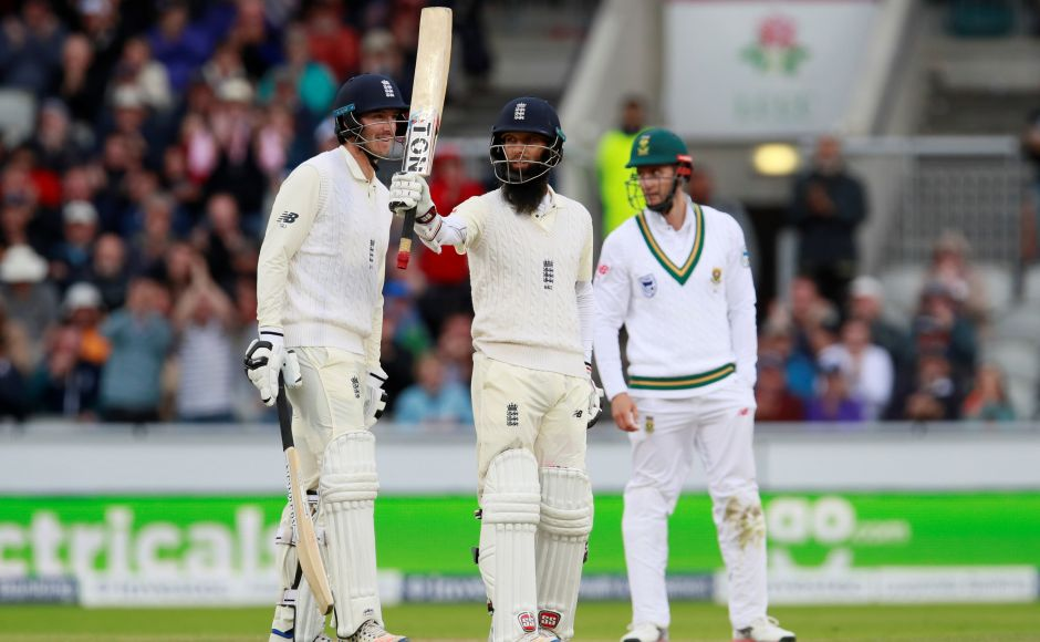 Moeen Ali, coming in at No. 8, counterattacked convincingly, hitting eight fours and three sixes in his 67 from just 59 balls. AP
