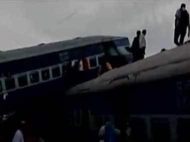 A train derailed in Khatauli town in Muzaffarnagar. Twitter @ANI