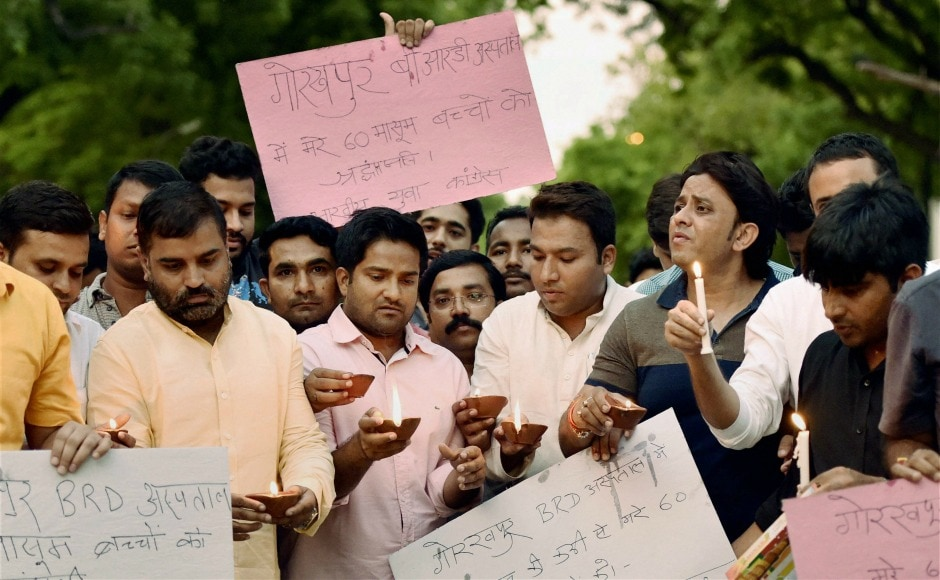 The Indian Express reported that Gorakhpur has seen at least 114 deaths due to Acute Encephalitis Syndrome (AES) in 2017. On Saturday, Youth Congress workers also took out a candle-light march to commemorate the incident on Saturday. PTI
