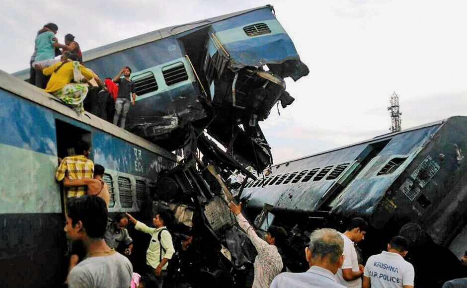 Fourteen coaches of the Puri-Haridwar Utkal Express derailed in Khatauli in Uttar Pradesh on Saturday evening. A total of 10 persons were killed and 30 to 40 were injured. PTI