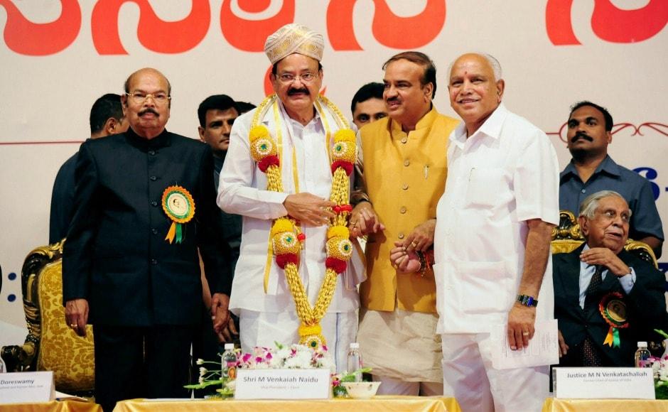 Vice-President-elect M Venkaiah Naidu was on Sunday felicitated in Bengaluru by Union parliamentry affairs minister Ananth Kumar, Karnataka BJP president BS Yeddyurappa and DV Sadananda Gowda. PTI