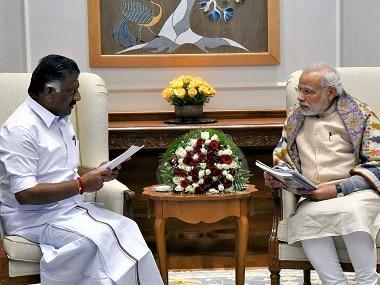 O Panneerselvam (left) with Prime Minister Narendra Modi. PTI