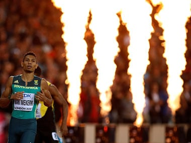 Athletics - World Athletics Championships - Men's 400 Metres Final - London Stadium, London, Britain – August 8, 2017. Wayde van Niekerk of South Africa reacts after winning the final. REUTERS/Phil Noble TPX IMAGES OF THE DAY - RTS1AYGI