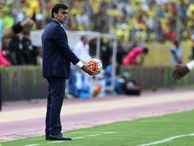 Football Soccer - Colombia v Ecuador - World Cup 2018 Qualifiers - Quito, Ecuador - 28/03/17. Ecuador's head coach Gustavo Quinteros. REUTERS/Mariana Bazo - RTX334SW