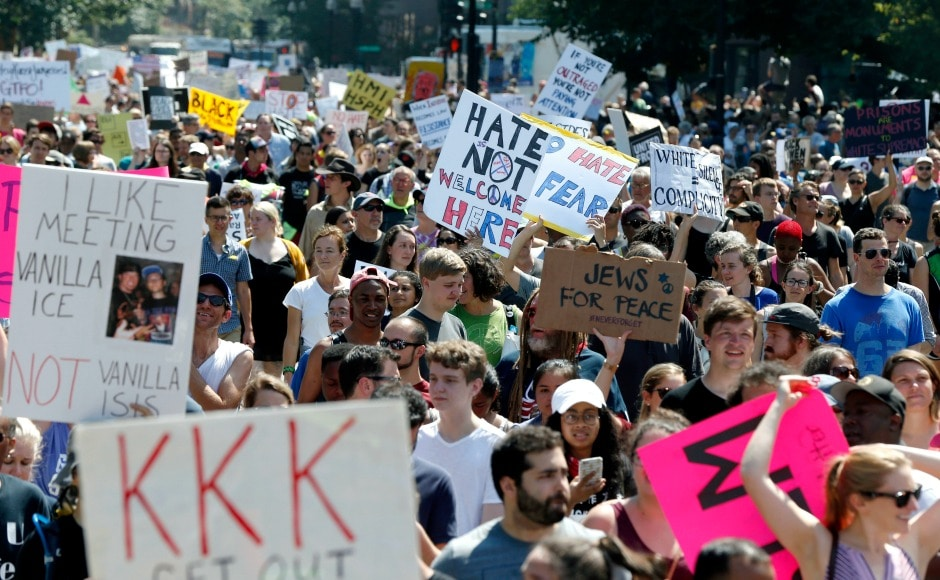 As many as 40,000 people took to the streets of Boston to protest against far-right 'free speech' rally which was organised a week after a woman was killed at Virginia white-supremacist demonstration. AP