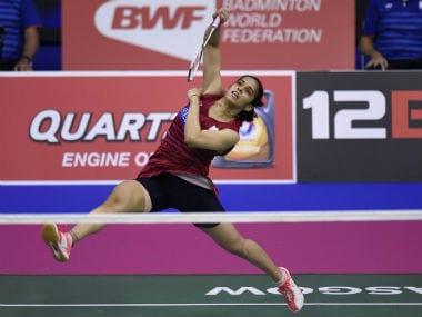 Saina Nehwal in action at the Total Badminton World Championships. AFP