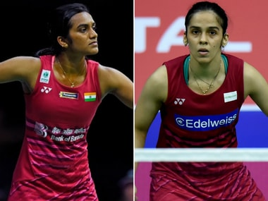 PV Sindhu and Saina Nehwal in action. Agencies