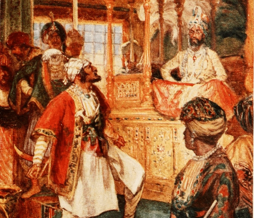 'Shivaji openly defies the Great Moghul', illustration by AD Macromick, via Wikimedia Commons