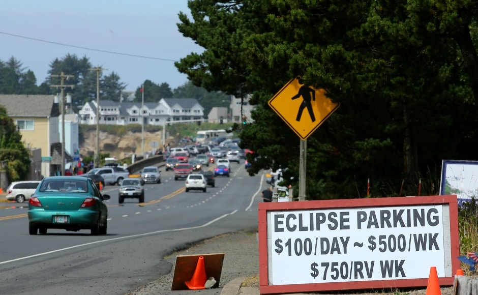 It will first be visible in the northwestern state of Oregon at 9.05 am (16:05 GMT), with totality there coming 75 minutes later. Oregon authorities say they expect a million people to flood into the state for the event, clogging roadways and overflowing campgrounds.