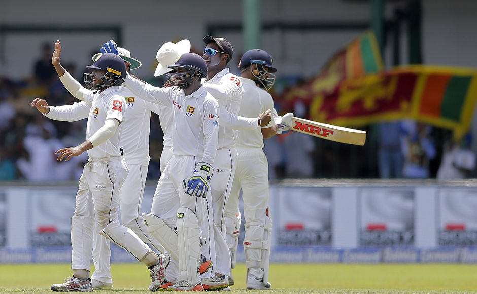Indian captain Virat Kohli didn't last long as he was caught smartly by Angelo Mathews at 1st slip off Rangana Hearth's bowling. Kohli was dismissed for 13 and left his team in a bit of bother with score reading 133/3. AP