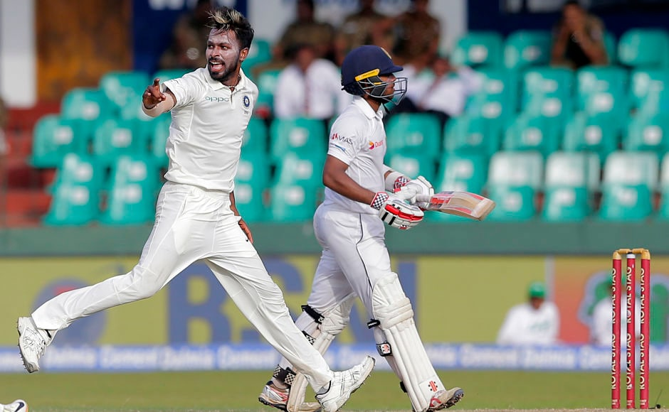 India's Hardik Pandya strikes late in the day as to break the 2nd wicket stand. After wicket-keeper Wriddhiman Saha held on to an inside edge that ricocheted off Mendis' pads. Mendis fell after scoring 110 in the last half hour of Day 3. AP