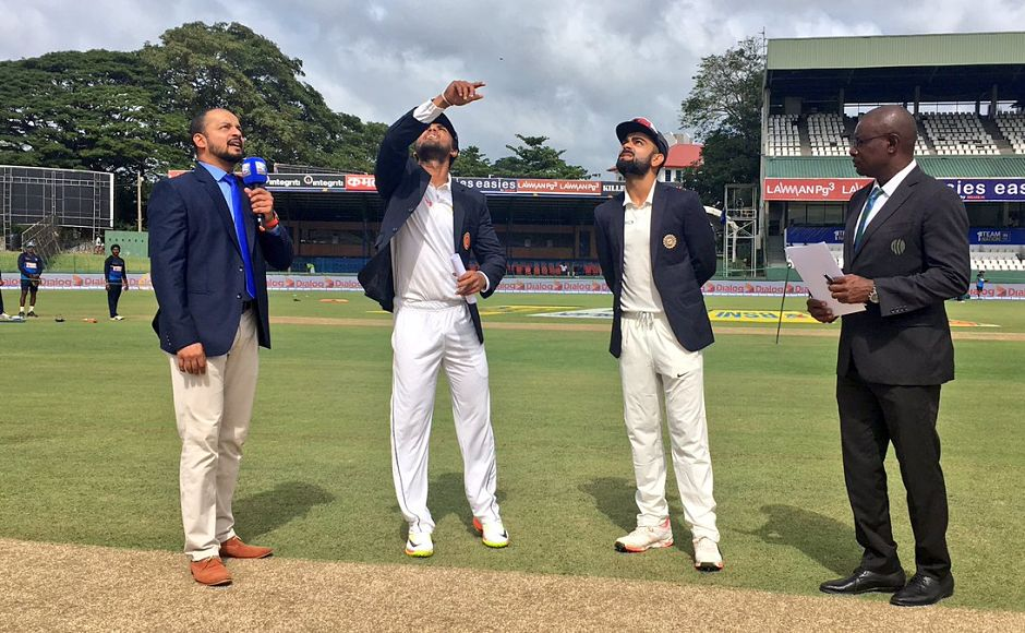 Sri Lankan captain Dinesh Chandimal returned to the side for the 2nd Test. Indian captain Virat Kohli won the toss and had no hesitation in opting to bat first. Image courtesy: Twitter/ @BCCI