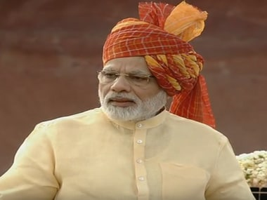 Prime Minister Narendra Modi at Red Fort on Tuesday. Screengrab from Youtube