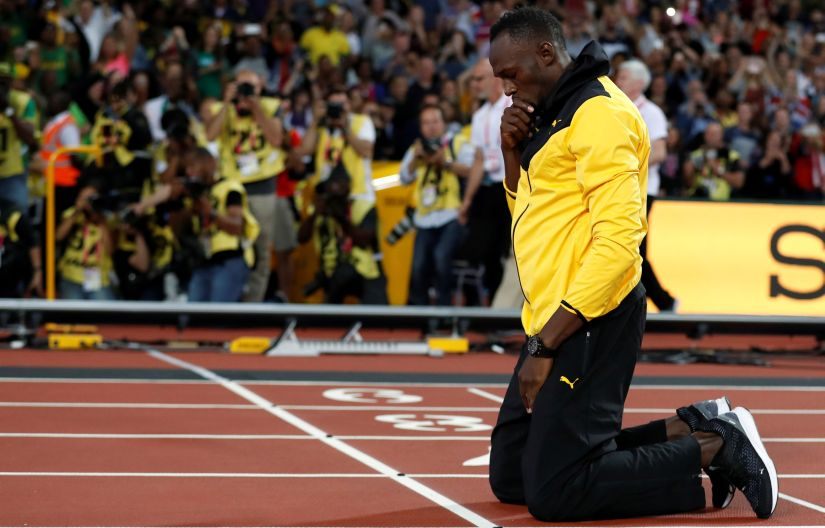 Usain Bolt of Jamaica during a lap of honour at the IAAF World Athletics Championships. Reuters