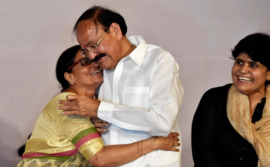Venkaiah Naidu is greeted by his wife Usha after daughter Deepa Venkat after being elected as the vice-president of India, in New Delhi on Saturday. The NDA nominee defeated opposition candidate Gopalkrishna Gandhi by a margin of 272 votes. PTI