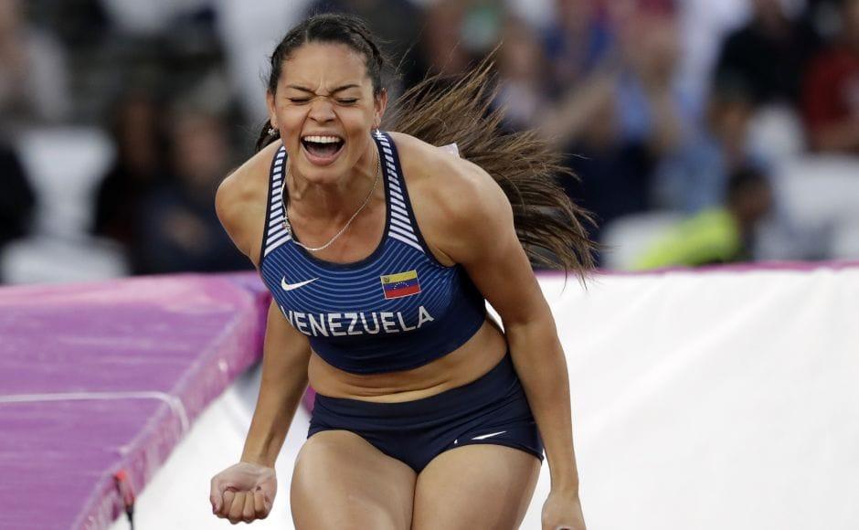 Venezuela's Robeilys Peinado during the pole vault final of the World Athletics Championships in London