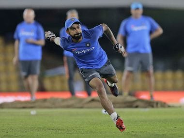 Indian cricket captain Virat Kohli attends a practice session ahead of their first one-day international cricket match against Sri Lanka in Dambulla, Sri Lanka, Saturday, Aug. 19, 2017. (AP Photo/Eranga Jayawardena)