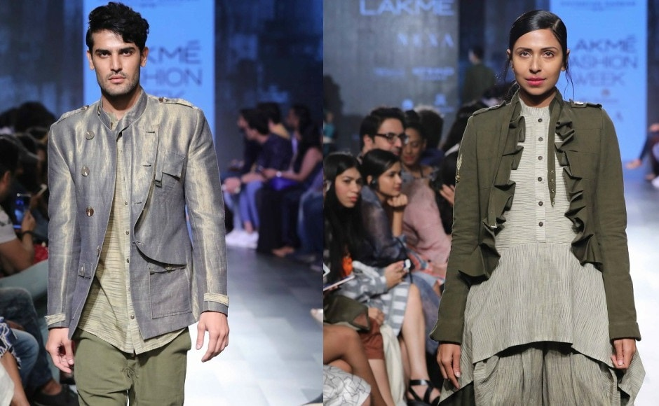 For Lakmé Fashion Week Winter/Festive 2017 the collection by Sayantan Sarkar called 'Children of War' was inspired by Enyo the Goddess of War in Greek Mythology.