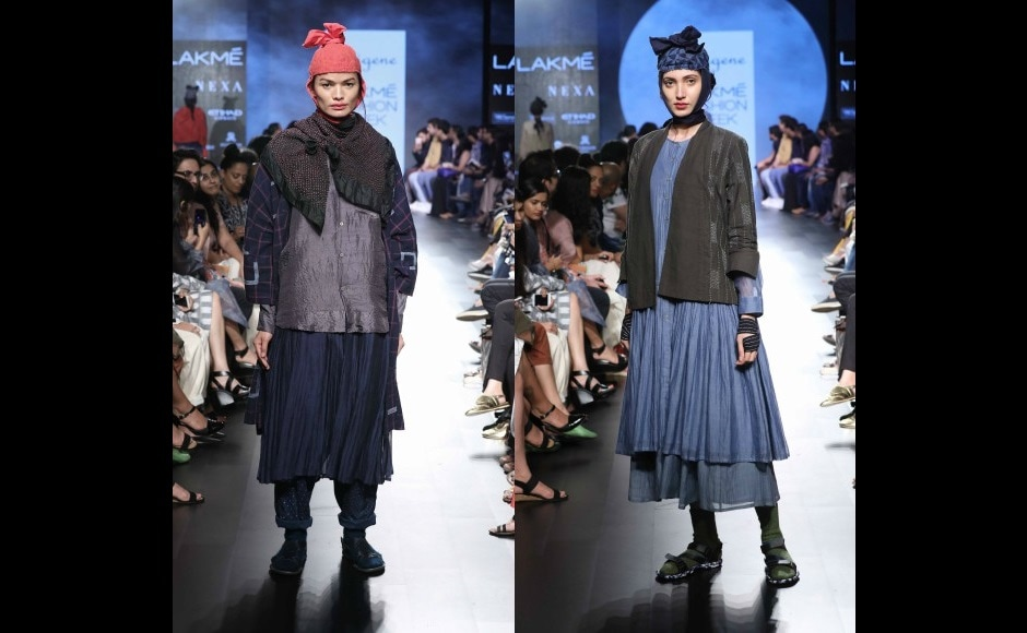 The Indigene label by Ruchi Tripathi and Jaya Bhatt had a mix of traditional as well as western silhouettes. The fabric list included Khadi silk, cotton and Chanderi, which were either turned into fluid, easy, relaxed, unconventional, silhouettes as well as used in blends or as, patched accents.